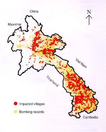 Map of bombings in Laos during the Secret War. The red color indicates villages bombed, while the yellow represents all other areas bombed.